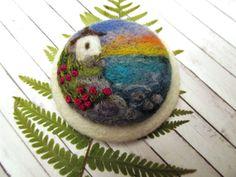 Needle felted brooch Seascape Jewelry wool felt by FeltAccessories