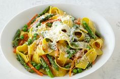 Asparagus-Pasta Toss recipe - Give pappardelle pasta a quick toss with asparagus, Parmesan and seasonings and you've got a family-pleasing weeknight dish in less than 30 minutes.