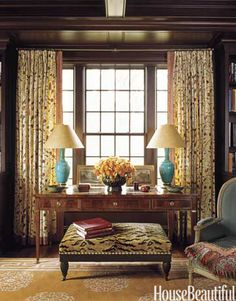 Mahogany library. Designer: Markham Roberts. Photo: Eric Piasecki. housebeautiful.com