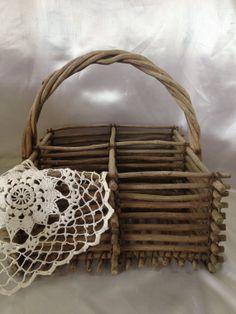 Primitive Twig Basket Rustic Wood Basket by TheCookieClutch