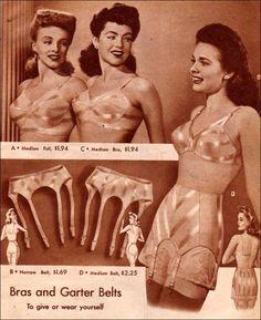 1940s lingerie advertisement for bras and garter belts