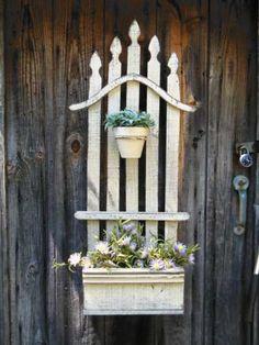 DIY Garden Art - Combine a small section of picket fencing, a planter box & a pot for an adorable and original garden piece