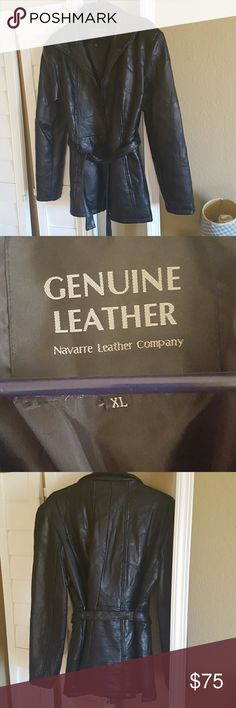 Genuine  Leather coat Black XL Made in China  Two side pockets, front zipper, and belt Perfect condition Jackets & Coats Blazers