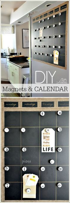 DIY Magnetic Chalkboard Calendar Tutorial at the36thavenue.com Easy to make and perfect for the side of the fridge!