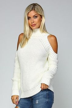 Only Faith Girls White Preppy Chic Jacquard Weaved Cotton Turtleneck Sweater