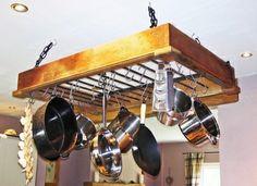 . Pot Hanger, Hanging Bar, French Oak, Wrought Iron, Wine Rack, Track Lighting, Teak, Kitchen Design, Pot Racks