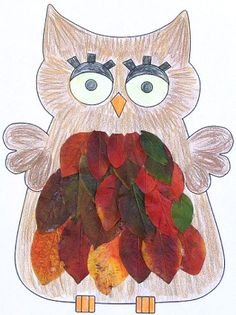 leaf owl paper craft grade K Leaf Crafts, Bird Crafts, Animal Crafts, Paper Crafts, Daycare Crafts, Classroom Crafts, Toddler Crafts, Autumn Art, Autumn Crafts