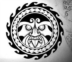 Tumatauenga - Maori war god by crazyxav on DeviantArt Nautical Tattoo Sleeve, Sun Tattoo Tribal, Tribal Sun, Card Tattoo Designs, Tribal Tattoo Designs, Tattoo Sleeve Designs, Rundes Tattoo, Back Of Hand Tattoos, Circle Tattoo Design