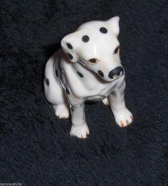 Vtg Dalmatian Figurine Black & White Porcelain Puppy Dog Miniature Statue