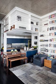 Love this loft! All the shelf space!