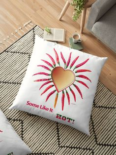 Some Like It Hot Floor Pillow by Polka Dot Studio on Redbubble, perfect for the #hot #romantic #Valentine, cuddle up and add a touch of original #art to your #home #decor. Coordinating products are available.