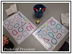 Shape Roll and Trace. Students roll the dice, find the shape of their board, and trace it.  Great to teach shapes and drawing shapes for preschool, pre-k, and kindergarten.  Pocket of Preschool