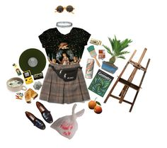 """""""art hoe probz"""" by lavelllan ❤ liked on Polyvore featuring Etienne Aigner, Chandelier, Topshop, Michele, Club Monaco and Everest"""