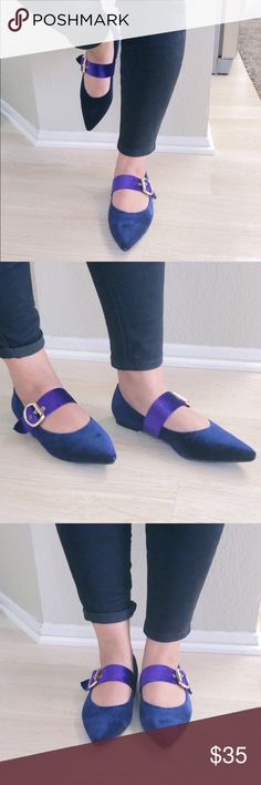 Ladies pointed toe velvet flat shoes. Navy ladies pointed toe velvet flat shoes. brand new in box, true to size medium fit. NO TRADES OR LOW BALL THIS  LISTING IS FOR THE NAVY COLOR AND PINK COLOR IS IN DIFFRENT LISTING boutique Shoes Flats & Loafers