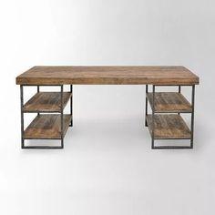 escritorio mesa de diseño minimalista hierro madera 50mm