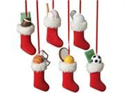 """Set of 12 Sports Ball in Stocking Christmas Tree Ornaments. Sports Ball in Stocking Christmas Tree OrnamentItem #639658Features six sports including football, soccer, golf, baseball, basketball, and tennisEach one comes ready-to-hang on red cordsFully dimensional ornamentsDimensions: 4.5""""H x 2""""W x 1.5""""DMaterial(s): resinSet includes 2 of each ornament shown Type: Ornaments Occasion: Christmas Mapping: Null. Price: $75.99"""