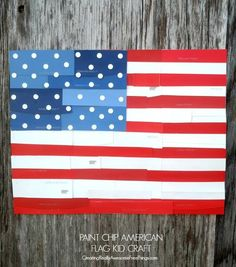 Make a giant collage flag craft with a bunch of kiddos! Use paint chips or magazine pages or both! Perfect for 4th of July or Memorial Day!