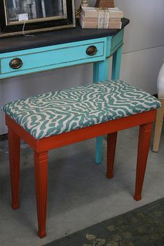 piano bench in orange and printed linen fabric