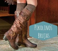 Adorable brown leather boots! Tall knee-high slouchy with buckles, straps, a zipper, and stacked heels. Wear with brown boot socks, black pants, shorts, skirt or dress in the fall, winter, and spring 2013 - 2014 ♥ Get this look at @SPARKTREND for $58, click the image to see! #boots #shoes #womens #fashion #heels