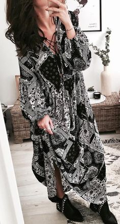 #summer #outfits  Black Printed Maxi Dress + Black Booties