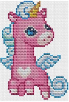 Cute Flying Unicorn Cross Stitch Pattern PDF by NostalgicLacquer Cross Stitch Disney, Cute Cross Stitch, Beaded Cross Stitch, Crochet Cross, Cross Stitch Animals, Filet Crochet, Cross Stitch Embroidery, Unicorn Cross Stitch Pattern, Cross Stitch Patterns