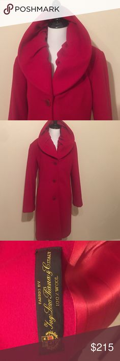 """Vintage FLEURETTE ing loro piana 💯 wool Gorgeous 💋 red plush Fleuertte Italian wool coat. In perfect condition. Extremely well made quality with extra button. All lining is intact with no rips or tears. This is a jewel 💎 Measures 20"""" bust, 23.5"""" arm, 35"""" long. Fleurette Jackets & Coats Trench Coats"""