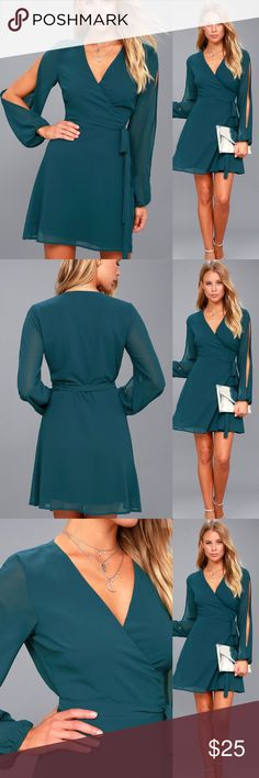 🆕 Teal Blue Long Sleeve Wrap Dress This Teal Blue Long Sleeve Wrap Dress will become your new favorite! Dreamy Georgette sweeps through a darted, wrap bodice (with tying sash belt), to sheer, long cold shoulder sleeves. A-line mini skit. Bodice is lined; sleeves are sheer. Self: 100% Polyester. Lining: 100% Polyester. Hand Wash Cold. Lulu's Dresses