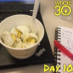 """""""Office Diaries Day 1 Meal 1: typically, I work from home which makes it very convenient to always have access to my kitchen. Over the next 3 days, I will be commuting and navigating Whole30 while at the office and out of town (staying with my wonderful in laws). Before rushing out of the house this morning, I had a banana and a spoonful of cashew butter. I knew I needed protein when I arrived at the office and bought 3 hard boiled eggs from the office cafe. Day 10 today and my mother-in-law…"""