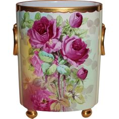 HUGE William Guerin Limoges Hand Painted Cachepot Vase ~ Breathtaking from bandcantiques on Ruby Lane