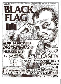 Black Flag, Redd Kross, Descendents, Husker Du , St. Vitus punk hardcore flyer