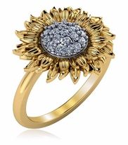 Sunflower Pave Set Cubic Zirconia Ring in yellow gold by Ziamond. Sunflower Ring, Sunflower Jewels, 14k Gold Jewelry, Body Jewelry, Diamond Jewelry, Sunflower Accessories, New Jewellery Design, Yellow Diamond Rings, Jewelry Sites