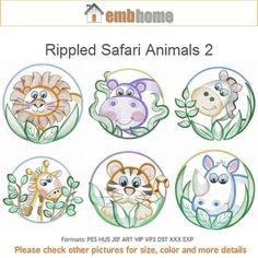 Rippled Safari Animals 2 Machine Embroidery Designs by embhome