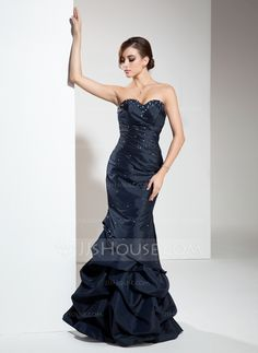Empire Sweetheart Floor-Length Taffeta Prom Dress With Ruffle Beading Sequins (018004833)