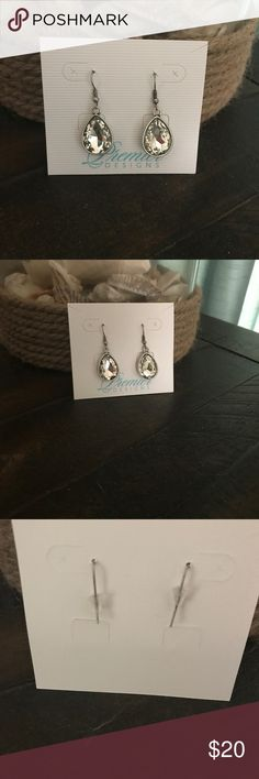 Premier Designs Faux Diamond Drop Earrings Premier Designs Faux Diamond Drop Earrings - never worn, smoke free home.  Silver tone surround. Premier Designs Jewelry Earrings
