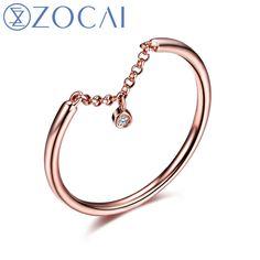 ZOCAI 2015 새로운 도착 자연 0.006 CT 다이아몬드 반지 18 천개 로즈 골드 (Au750) W06225