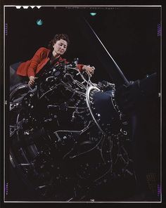 October 1942: Woman at work on motor, Douglas Aircraft Company, Long Beach, California.