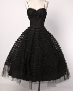 Vintage 1950's Black Tiered Tulle Lace Cocktail Dress image 2