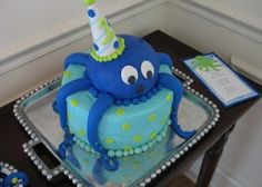 Cute cake for an Under the Sea Birthday Party 5th Birthday Party Ideas, 1st Boy Birthday, Birthday Cakes, Party Fun, Party Time, Octopus Cake, Ocean Cakes, Fondant, Cute Cakes