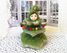 FREE SHIPPING     OOAK Art Doll Christmas Tree by WoolPaw on Etsy