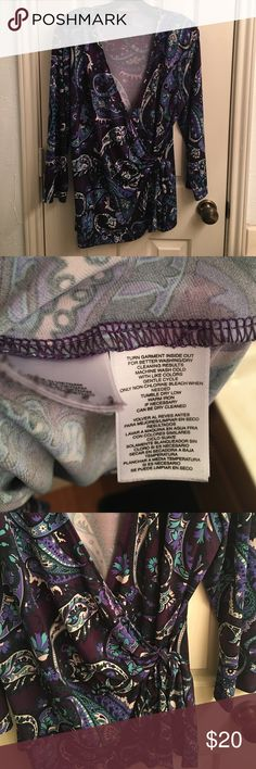 Anne Klein Paisley Faux Wrap Top Anne Klein Paisley Faux Wrap Top.  Excellent condition.  Care instructions pictured above.  No trades 🚫.  Offers only accepted through Poshmark, not through comment section.  ***Please note that bundle discount just increased from 10% to 25% when you purchase 3+ items! Anne Klein Tops