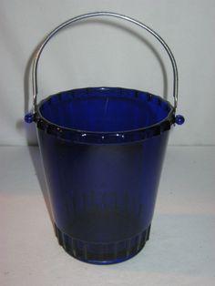 Old Cobalt Blue Glass Ice Bucket Hammered Aluminum Handle by FremarsTreasures on Etsy