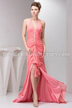 Sexy Water Melon Sexy Halter Backless Hi-low Prom Dress Pageant Gown