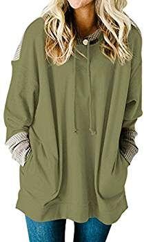 8d34b8265fc MuCoo Women s Casual Oversized Long Sleeve Waffle Knit Splice Pocket  Hoodies Khaki XL at Amazon Women s