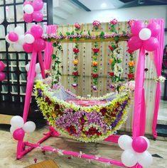 Amazing cradle ceremony decoration ideas for all your events. images for cradle decoration for naming ceremony from Quotemykaam catalogue. Naming Ceremony Decoration, Wedding Hall Decorations, Marriage Decoration, Festival Decorations, Ceremony Decorations, Balloon Decorations, Baby Shower Decorations, Birthday Decorations, Flower Decorations