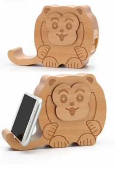 Wooden Monkey Shaped Bluetooth Speaker Mobile Display Stand