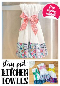 Stay Put Kitchen Towels - they don't slip off! {free sewing tutorial} (She Sews! Sewing Hacks, Sewing Tutorials, Sewing Tips, Tutorial Sewing, Sewing Ideas, Dress Tutorials, Sewing Blogs, Sewing Patterns Free, Free Sewing