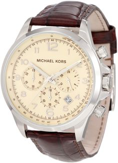 Michael Kors Watches Men's Brown Leather Chronograph (Brown): Watches: Amazon.com