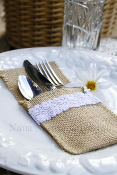 Simply Lace, 100 - burlap silverware pocket cozies with white lace, iphone case, holder, wedding favor extraordinaire. $175.00, via Etsy.