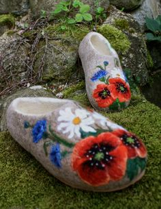 Felted Slippers- Meadow flowers. $115.00, via Etsy.