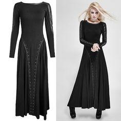 Black Maxi Long Sleeve Gothic Fashion Casual Dresses for Women SKU-11402268